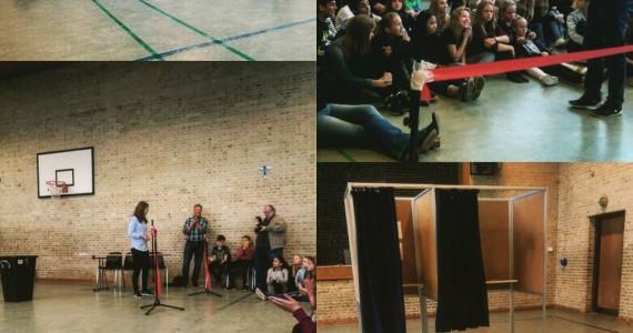 Valget til @ungebyraadet_aarhus havde i dag flotte rammer på Sabro-Korsvejskole. Lene Horsbøl, byrådsmedlem for Venstre, fik lov at tjekke stemmeurnen, klippe snoren og dermed åbne valget. Herefter blev der stemt på helt traditionelvis. #ungedemokrati #ungebyråd #valg2015 #stem #aarhus